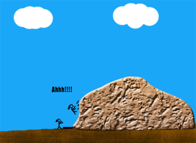 Stick figure falling off of a boulder