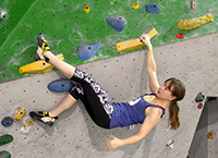 Using a heelhook to take a rest on a problem.