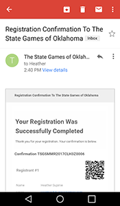 Comfimation email received for registering for the State Games.