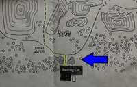The location of the Parking Boulders on the Robbers Cave map.
