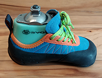 An adaptive climbing shoe from Evolv.