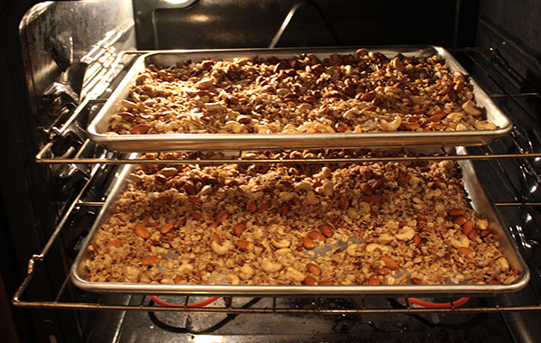 Granola baking in the oven.