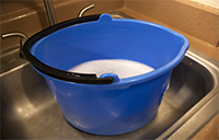 My blue bucket to wash my climbing shoes in.