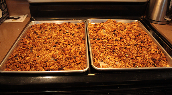 Granola cooling on the stove.