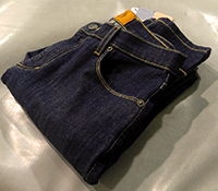 Folded pair of Bould Denim Skinny Fit jeans.